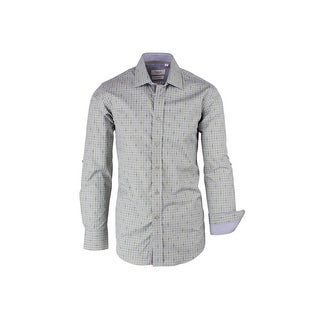 CLEARANCE Green and Gray Check Pattern, Modern Fit, Long Sleeve Sport Shirt by Tiglio Sport SP9024
