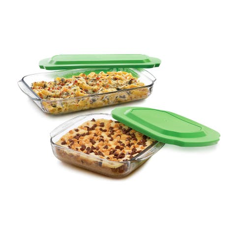 Libbey Baker's Basics 2-Piece Glass Casserole Baking Dish Set with Plastic Lids