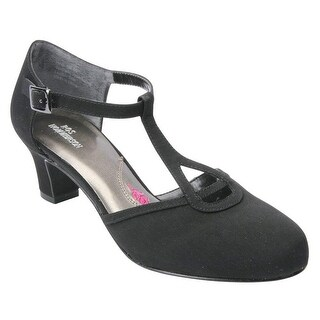 Ros Hommerson Womens Heidi Leather Round Toe T-Strap Mary Jane Pumps