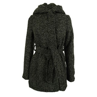 Coffeeshop Women's Belted Wool-Blend Hooded Coat