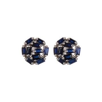 Genuine Blue Sapphire Baguette Stud Earring, Stud Earrings, Blue Sapphire Earring, Baguette Studs