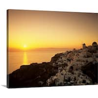 Premium Thick-Wrap Canvas entitled Village on a cliff at dusk, Oia, Santorini, Cyclades Islands, Greece II