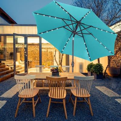 Zenova 9-foot Solar LED-lit Tilting Waterproof Patio Umbrella