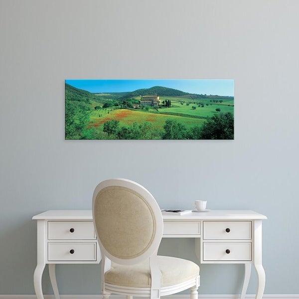 Easy Art Prints Panoramic Images's 'View of church on field, Abbazia Di Sant'antimo, Tuscany, Italy' Premium Canvas Art
