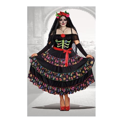 Plus Size Lady of The Dead Costume - As Shown