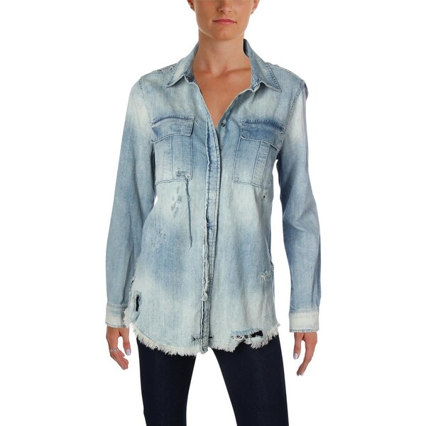 6d35b00e610 Shop Hudson Womens Bijou Denim Shirt Chambray Destroyed - S - Free ...