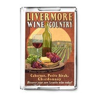 Livermore, California - Wine Vintage Sign - Lantern Press Artwork (Acrylic Serving Tray)