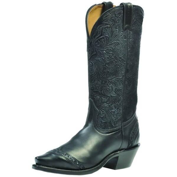 Boulet Western Boots Womens Cowboy Leather Selvaggio Black Blue