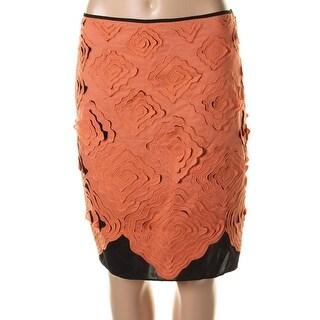 Catherine Malandrino Womens Poplin Cut-Out Pencil Skirt - 4