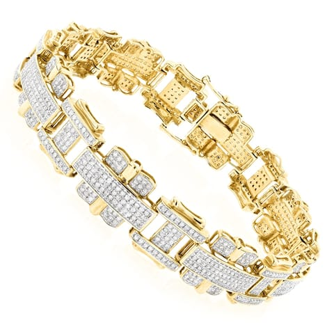 Mens Round Diamond Bracelet 3ctw in 10k Gold by Luxurman