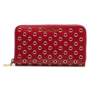 MIU MIU Women's Nappa Leather Clutch Zip Around Wallet Handbag Gold Rose Red - S