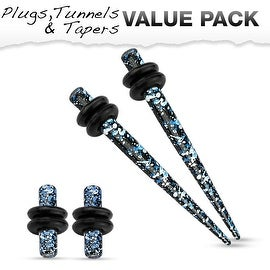 Blue & Black Splatter IP 316L Steel Plug & Taper with O-Ring Set Value Pack