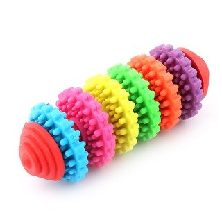 Pet Dog Puppy Cylindrical Tooth Training Playing 6 Wheel Chewing Gear Bone Toy