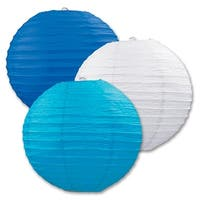 """Club Pack of 18 Round Blue, Teal and White Hanging Paper Lanterns 9.5"""" - Blue"""