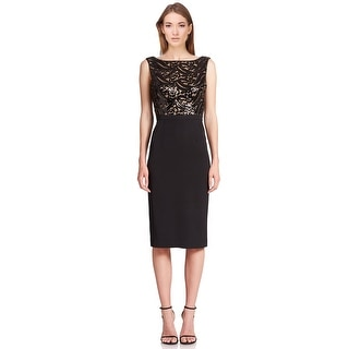 ML Monique Lhuillier Sequin Boatneck Sheath Cocktail Evening Dress - 6