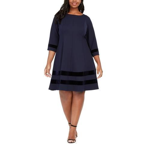 Jessica Howard Womens A-Line Dress Blue Size 18W Plus Velvet-Trim
