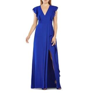 BCBG Max Azria Womens Callie Evening Dress Ruffled V Neck