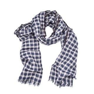 Brunello Cucinelli Linen Checkered Blue Green Cotton scarf
