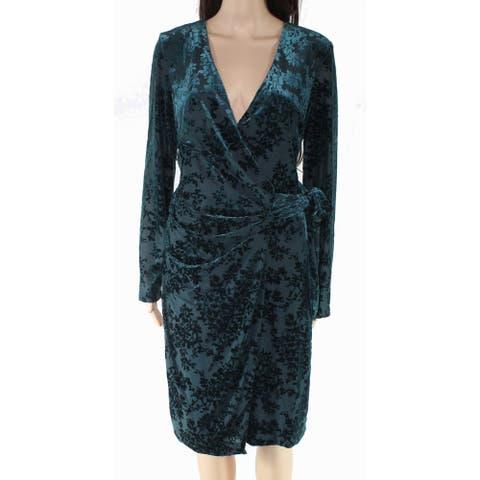 Lauren By Ralph Lauren Women's Dress Green Size 10 Wrap Clara Velvet