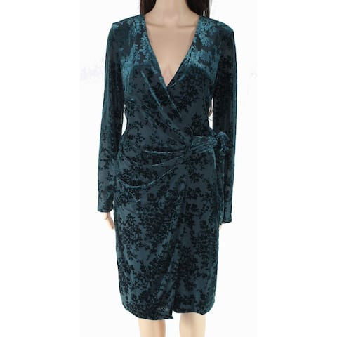 Lauren By Ralph Lauren Womens Dress Green Size 10 Wrap Surplice