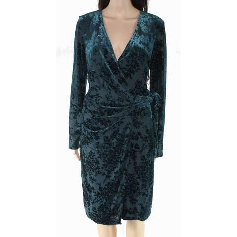Lauren By Ralph Lauren Womens Faux-Wrap Dress Green 8 Floral Velvet