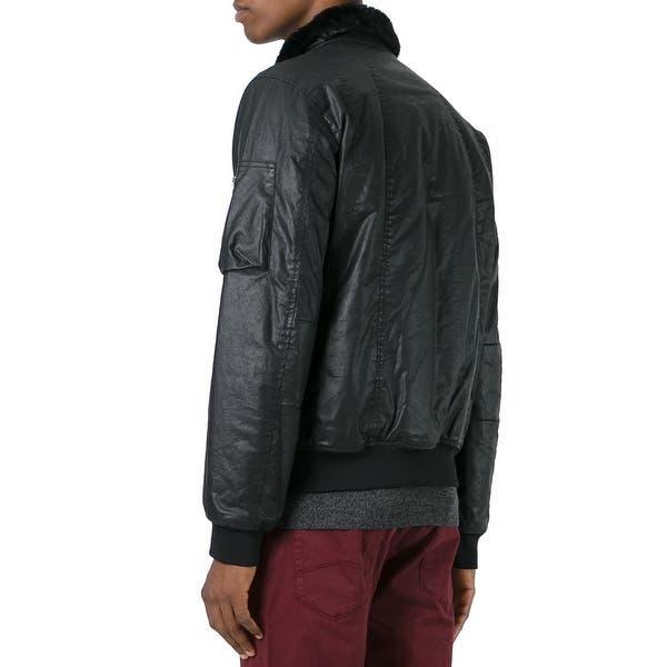 31e37ab8 Shop Armani Jeans NEW Men's Black Size Large L Faux-Leather Bomber ...