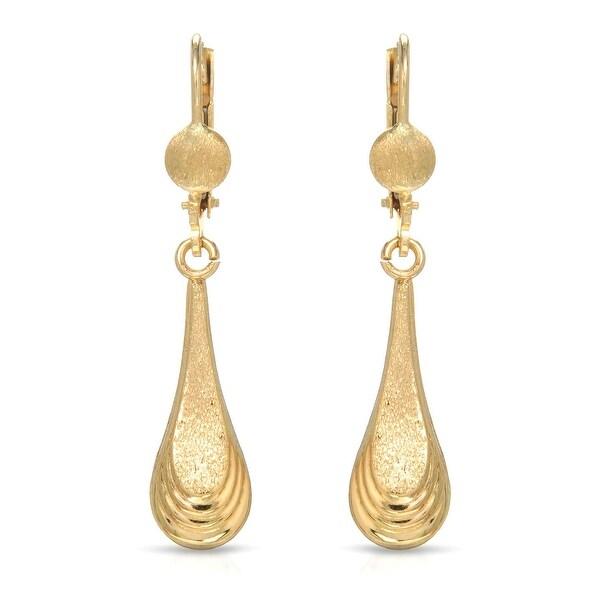Mcs Jewelry Inc 10 KARAT LEVERBACK DROP DANGLING EARRINGS 38MM - YELLOW