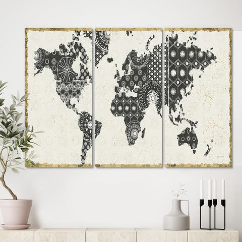 Designart 'Madallions Map' Traditional Gallery-wrapped Canvas