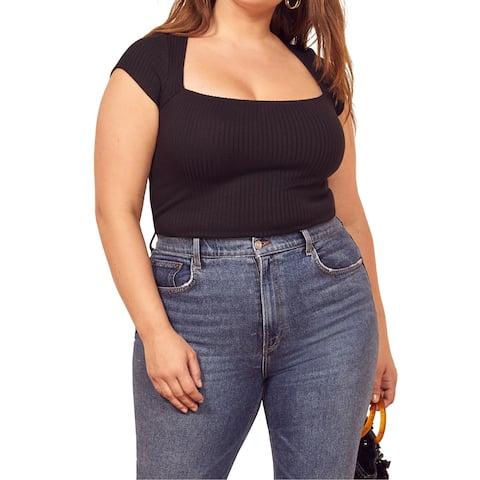 Reformation Womens Blouse Black Size 3X Plus Ribbed Square-Neckline