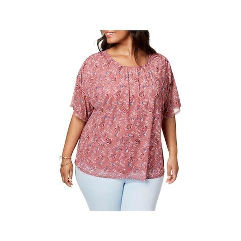 Eyeshadow Womens Plus T-Shirt Pleated Floral Print