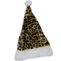 "16.5"" Brown and White Cheetah Print Christmas Santa Hat with White Faux Fur Brim"