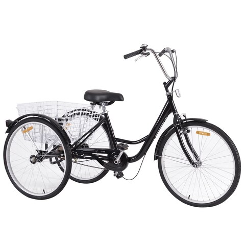 Costway 26'' Single Speed 3-wheel Bicycle Adult Tricycle Seat Height Adjustable w/ Bell