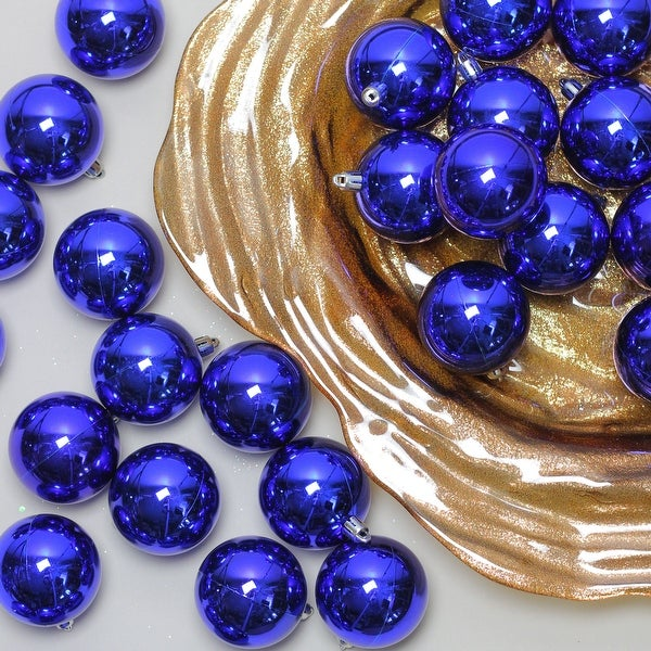 "180ct Shiny Royal Blue Shatterproof Christmas Ball Ornaments 2.5"" (60mm)"