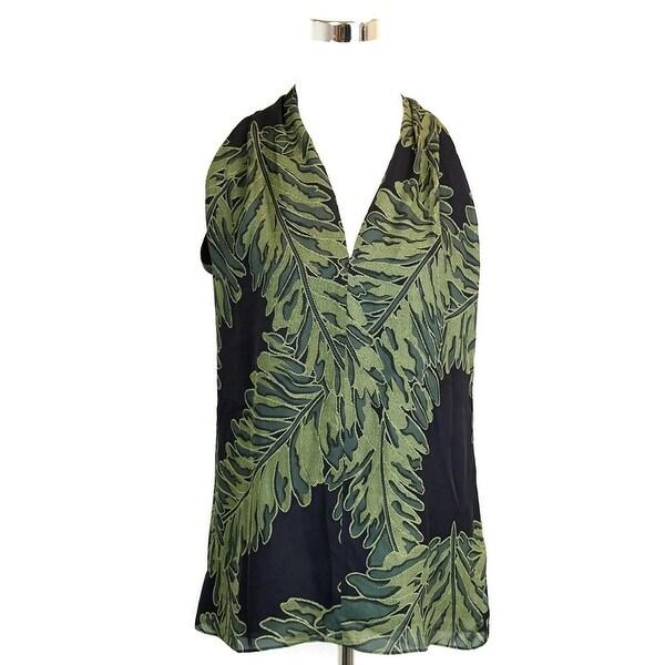 bbfb6d390 Shop Gucci Women's Green Silk Halter Leaf Printed Top 333476 - Free ...