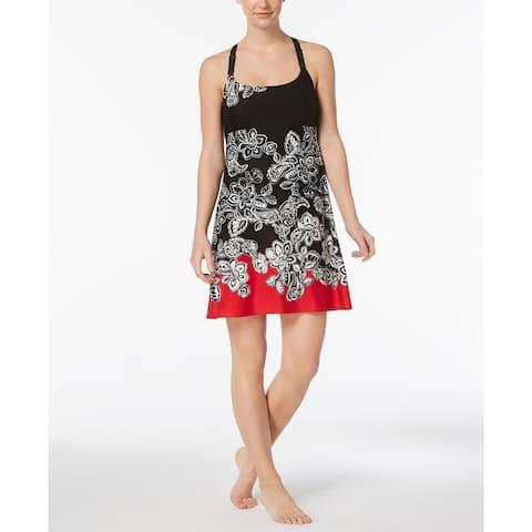 Linea Donatella Women's Duchess Mesh Lace-Racerback Chemise Black/Red Size Small - Black