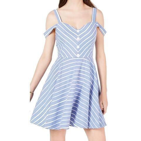 City Studio Blue 0 Junior A-Line Chevron Button Front Fit & Flare Dress