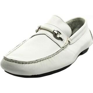Bruno Magli Pogia Men Apron Toe Leather White Loafer