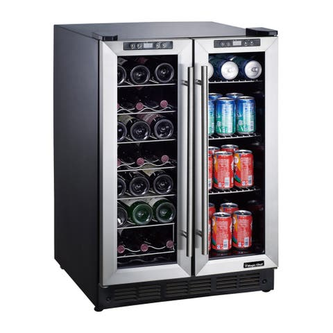 """Magic Chef MCWBC24D 23"""" Wide 42 Bottle 114 Can Capacity Built-In Wine and Beverage with Dual Zone Cooling - Stainless Steel"""