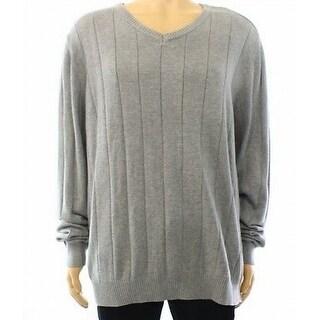 John Ashford NEW Gray Mens Size XL V-Neck Stripe Textured Sweater
