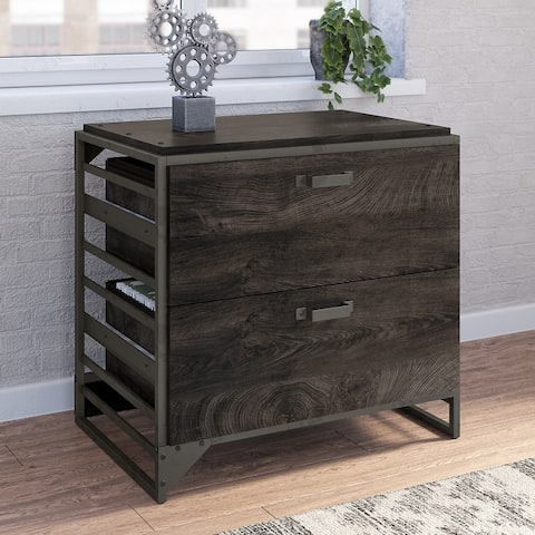 Carbon Loft Plimpton Lateral File Cabinet in Rustic Grey