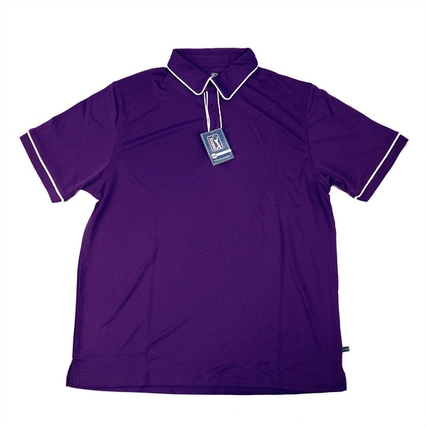 PGA TOUR Men's Polo Shirt - Plum w/ White Trim - Small
