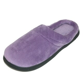 Dearfoams Women's Microfiber Velour Clog Slipper with Quilt Detail