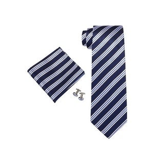 Men's Blue And White 3.25 Inch Stripes 100% Silk Neck Tie Set 1830N
