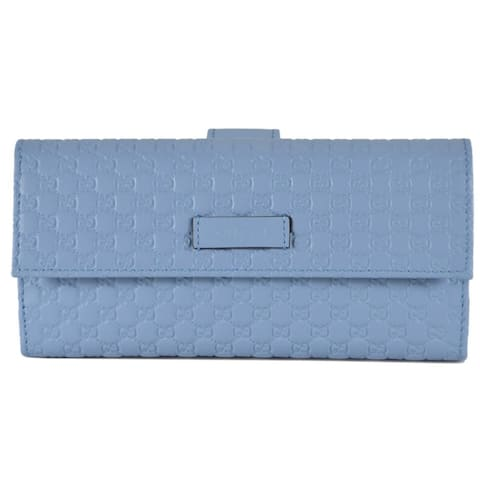 """Gucci Women's 449393 Mineral Blue Leather Micro GG Continental Bifold Wallet - 7.5"""" X 4"""" X 1"""""""