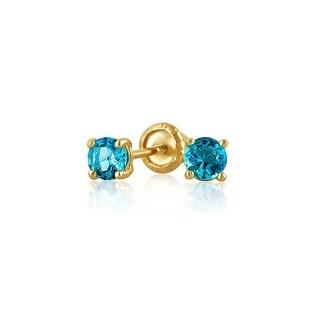 Bling Jewelry Blue CZ Baby Screwback Studs 14K Gold 3mm