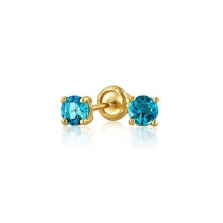 Tiny Cubic Zirconia London Blue Imitation Blue Topaz CZ Round Solitaire Stud Earrings Real 14K Yellow Gold Screwback