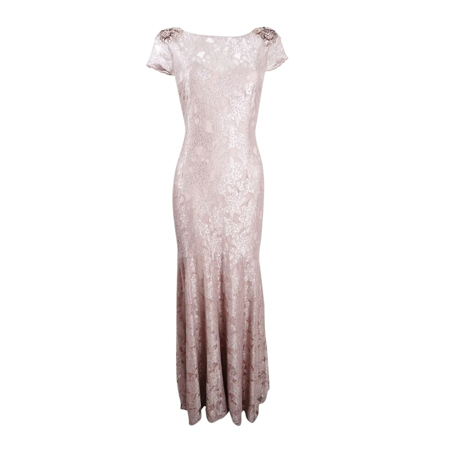 Adrianna Papell Womens Embellished Lace Gown - Silver Quartz