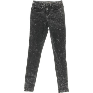Suede Womens Juniors Olivia Acid Wash High Rise Skinny Jeans - 25