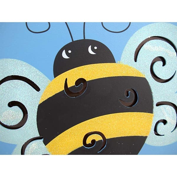 Ble Bee Wooden Wall Plaque With Lights