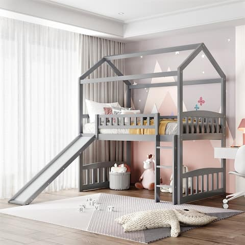 Merax Twin House Bed Loft Bed with Slide